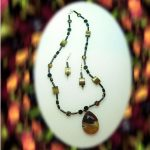 Onyx & Tiger Eye Necklace With Agate Pendant & Earrings Set