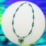Blue Murano Heart Glass Necklace by Angela Star