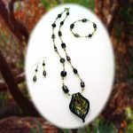 Murano Black Gold And Green Necklace Braclet And Earring Set